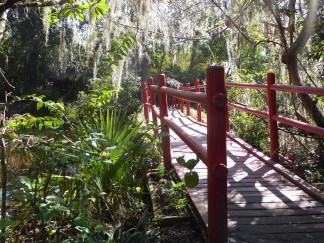 Red bridge over a swamp