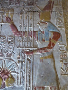 Detail from the sanctuary dedicated to Horus. Photo by Tricia.