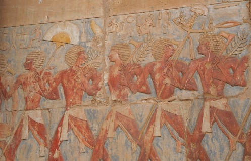 The best reliefs are on the middle terrace, like this one depicting a trade delegation. Photo by Ryan.